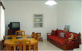 Living area with dining table and convertible sofa